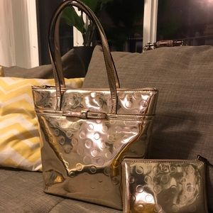 Kate spade Polk dot gold bag.